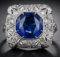 Early Art Deco sapphire and diamond filigree ring. Via Diamonds in the Library.