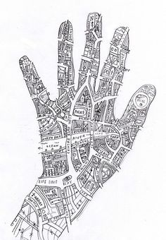 Know your town (like the back of your hand) by johnefrench, I like the simple black and white line drawing, and the quirky shape of the map makes it a strong but effective piece which has been ordinarily created Art Carte, Stoff Design, Drawn Art, Collage Vintage, Vintage Maps, Identity Art, Hand Art, Gcse Art, Teaching Art