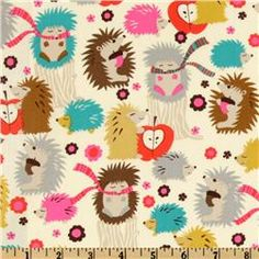Michael Miller Hedgehog Meadow Cream - Discount Designer Fabric - Fabric.com
