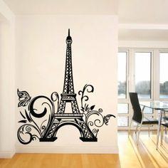 "Amazon.com - Tall Eiffel Tower Wall Decal Huge Paris City Sticker Decor Wall Sayings Decal Vinyl Wall Art Words Vinyl Lettering- Size 23.6"" ..."