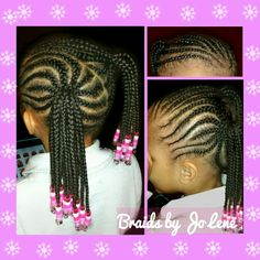 Beaded Cornrow Ponytails
