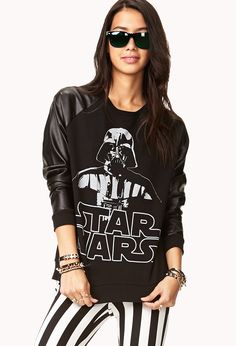 Star Wars™ Faux Leather-Trimmed Pullover | FOREVER21 Welcome to the dark side #StarWars #Graphic #FauxLather #DarthVader