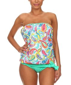 549af986f3dfa Daisy's Swimwear Pink & Green Bandeau Tankini Top & Bikini Bottoms - Plus  Too