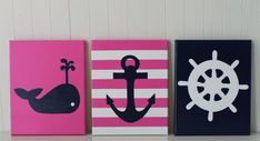 This canvas set is LOVELY and hand painted for the special little one in your life! It could also be used as a gift. The canvases are painted with