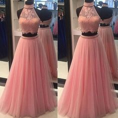 Custom Made Charming Two Pieces Prom Dresses,Sexy Halter Evening Dresses,Pink Lace Tulle Prom Dresses