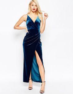 ASOS   ASOS Velvet Wrap Strappy Maxi Dress at ASOS