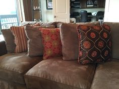 Custom pillows for a sofa. Hunter Douglas Blinds, Long Grove, Window Design, Custom Pillows, Drapery, Window Treatments, Cushions, Sofa
