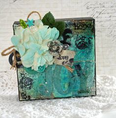 Joy Altered Mini Canvas using glass glitter, tissue, stamps and mist by Julia Stainton