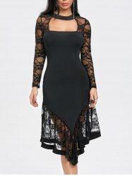 Asymmetrical Cut Out Lace Panel Club Dress - BLACK