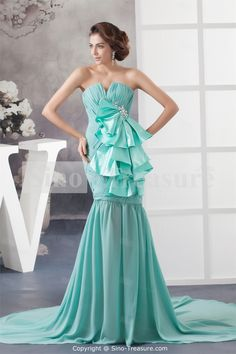 Tiffany Blue Puddle Train Chiffon V-neck Cocktail Dress/ Homecoming Dress