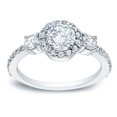 Auriya Platinum 1 1/4ct TDW Halo Diamond Engagement Ring