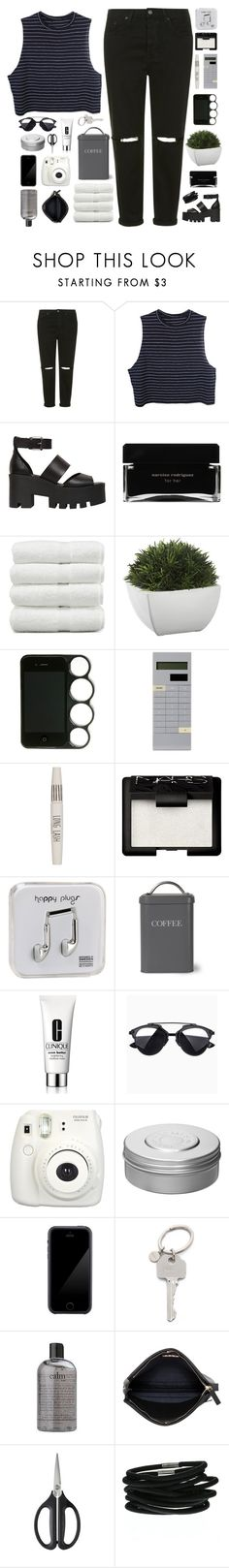 """☾ i love it when you go crazy"" by thundxrstorms ❤ liked on Polyvore featuring Topshop, Windsor Smith, Narciso Rodriguez, Linum Home Textiles, Crate and Barrel, Mark's, NARS Cosmetics, Happy Plugs, Garden Trading and Clinique"