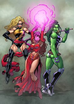 Marvel Girls by Mike Bowden colored by Dany-Morales on DeviantArt