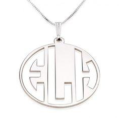 Sterling Silver Capital 3 Letters Negative Font Monogram Necklace