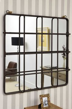 Industrial Bronze Metal Cage Mirror with Decorative Rope x Industrial Mirrors, Cage, Shelving, Divider, New Homes, Bronze, Metal, Room, Furniture