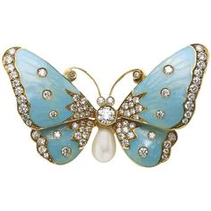 Enamel Pearl Diamond Gold Butterfly Brooch ($7,961) ❤ liked on Polyvore featuring jewelry, brooches, multiple, enamel jewelry, diamond brooch, gold jewelry, butterfly jewelry and butterfly brooch