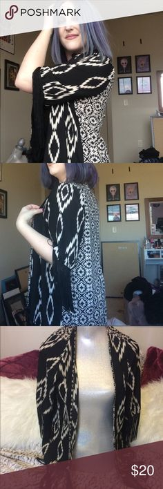 Lightweight Fringe Cardigan-Like Cover Up Size S Fun black fringe along all the edges - Very lightweight - Longer in back - Barely worn - SMOKE FREE HOME! - Tops