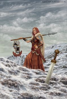 Andraste, the Celtic Goddess of War and Victory. It is the cover art for The 2016 Yearbook. https://www.kickstarter.com/projects/999214729/the-art-of-mitch-foust-2016-yearbook