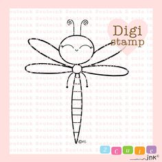 Happy Dragonfly Digital Stamp - Dragonfly Stamp - Digital Dragonfly Stamp - Dragonfly Art - bug Card Supply - bug Craft Supply