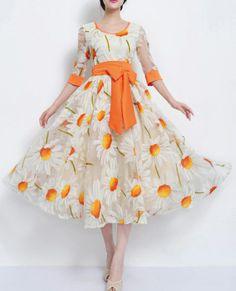 2015 new Bohemian dress round neck chiffon dress white orange red . Chiffon Dress Long, Organza Dress, Belted Dress, Modest Outfits, Modest Fashion, Modest Dresses, Half Sleeve Dresses, Sammy Dress, Cheap Dresses