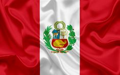 Download wallpapers Peruvian flag, national flag, Peru, silk texture, flag Peru