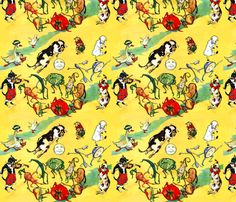 vintage retro nursery rhymes diddle cat fiddle cow moon dish spoon ducks pigs sheep lambs mouse dogs carrot cabbage corns onions vegetables dance fabric by raveneve on Spoonflower - custom fabric