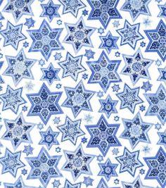 Holiday Inspirations Hanukkah Fabric Quilted Stars Metallic- Circle Skirt.
