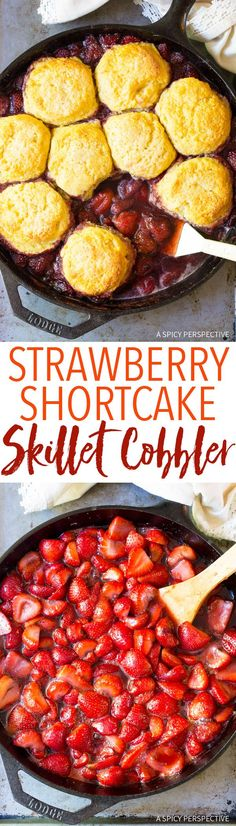The Best Roasted Strawberry Shortcake Skillet Cobbler Recipe via @spicyperspectiv