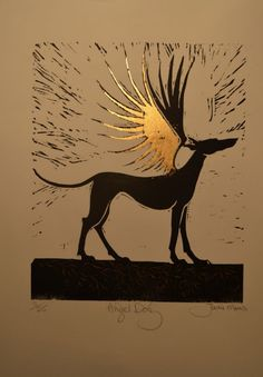 Angel Hound lino with gold leaf, Jackie Morris