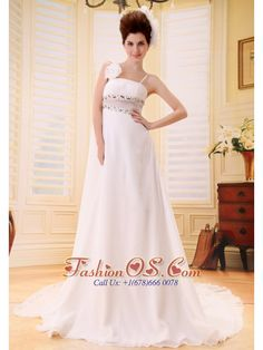 Custom Made Beaded Wedding Dress With Spaghetti Straps Watteat Train Chiffon    http://www.fashionos.com  Well designed dresses can make a dramatic first impression – like this dress. It features slender straps fitted bodice with a exquisite hand made flower in right strap and gorgeous beading decorated on bodice adds more visual impact. A piece of see-through fabric on the waist modifies your charming.