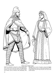 Byzantine Fashions 20 / Byzantine Fashions / Kids printables coloring pages Historical Costume, Historical Clothing, Empire Romain, Creation Art, Medieval World, Early Middle Ages, Medieval Clothing, Dark Ages, Mystery Of History