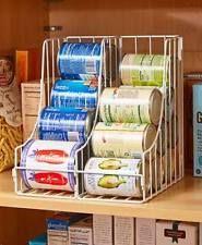 Double Pantry Shelf Can Organizer Metal White Bronze Silver Kitchen Food Storage $20 ebay