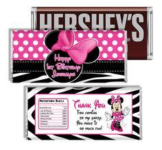 Pink Zebra Minnie Mouse Candy Bar Wrapper by MyCelebrationShoppe, $5.00