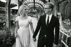 Modest wedding dress with flutter sleeve.  Photo by Mandi Nelson