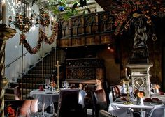 The Secret Garden of the Witchery by the Castle in Edinburgh, Scotland. The restaurant is hidden in the historic buildings in the heart of city's Old Town. From  Conde Nast Travel