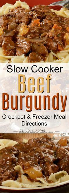 Slow Cooker Beef Burgundy (Crock Pot, Instant Pot, Freezer Meal) Multi Cooker Recipes, Slow Cooker Recipes, Crockpot Recipes, Cooking Recipes, Frugal Recipes, Yummy Recipes, Cooking Tips, Chicken Recipes, Vegetarian