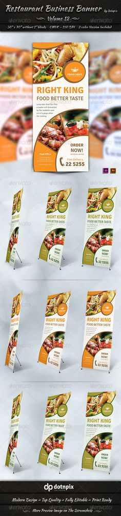 Restaurant Business Banner Volume 12 by dotnpix Restaurant Business Banner is a designed for Any types of companies. It is made by simple shapes Although looks very professional Signage Design, Menu Design, Banner Design, Flyer Design, Food Banner, Banner Ideas, Restaurant Branding, Pizza Restaurant, King Food