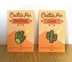 Pair of cactus pins by TomatitoPress on Etsy