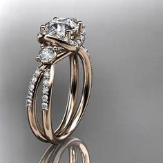 14kt rose gold diamond unique engagement ring,wedding ring ADER146