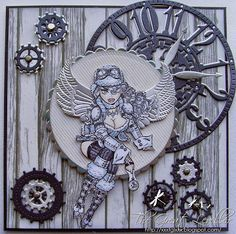#cheeryld #xxxtglxxx I used a 6 x 6 inch blank card base and layered black bazzil card and MME paper, inking the edges slightly with DI. Dies used: Clock w/Angel Wing (Steampunk Series) - B357; Gears (Set of 9) - B340; Wings (Steampunk Series) - B359; Circle - Scalloped LG Stackers Nesting Dies - XL-5; Circle Classic - Silver Stackers - L-4 http://www.cheerylynndesigns.com