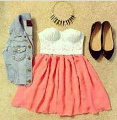 4 piece. Top.skirt.vest.shoes ~ Teenage Fashion ~  Love this outfit!