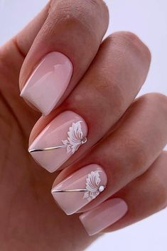 Flower nails nail design gentle elegant pink with white flowers silver stripes lyasha_nevskaya Elegant Nail Designs, Gel Nail Designs, Cute Nail Designs, Silver Nail Designs, Cute Nails, Pretty Nails, Pink Nails, My Nails, Nagel Blog