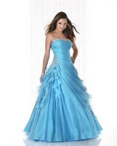 Lace Wedding Dresses, Gorgeous Organza Strapless Neckline Floor-length Ball Gown Prom Dress, Find your personal style and the perfect wedding dress for your special wedding day Pretty Prom Dresses, Sexy Wedding Dresses, Prom Dresses Blue, Formal Evening Dresses, Bridal Dresses, Dress Prom, Party Dress, Ball Gowns Prom, Ball Dresses