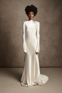 Satin Gown, Silk Wool, Pearl Drop Earrings, Baroque Pearls, Tie The Knots, Formal Dresses, Wedding Dresses, One Shoulder Wedding Dress, High Neck Dress