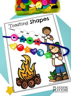Follow the Pattern for the Shapes Roast! - Pre-k Camping Worksheets