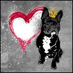 StreetArt Hund französische Bulldogge mit Krone von Birgit Greger