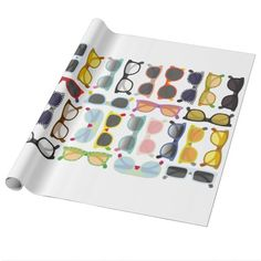 Sunglasses Pattern Hipster Summer Wrapping Paper @zazzle #junkydotcom June 23 2016
