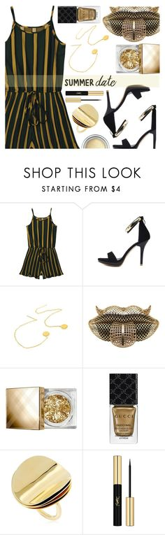 """""""Summer date"""" by simona-altobelli ❤ liked on Polyvore featuring Burberry, Gucci, Elizabeth and James, Yves Saint Laurent, Christian Dior, polyvorecontest, summerdate and summerdatenight"""