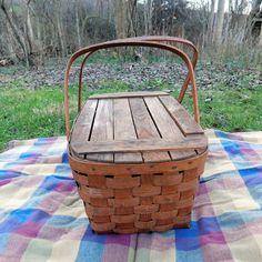 Kitchen Storage Boxes, Storage Baskets, Vintage Picnic Basket, Bent Wood, Pot Sets, Canister Sets, Chocolate Pots, Golden Brown, Cottage Chic
