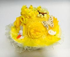 Easter Bonnet Hat Ready Decorated Handmade Yellow Girls School Easter Parade, Egg Hunt Party Easter Chicks Butterfly's Flowers and Bunnys Easter Bonnets, Easter Eggs, Bonnet Hat, Easter Parade, Girls School, Butterfly Flowers, Egg Hunt, Bunny, Handmade Items